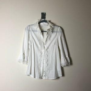 Anne Fontaine White Lace Detail Button Up